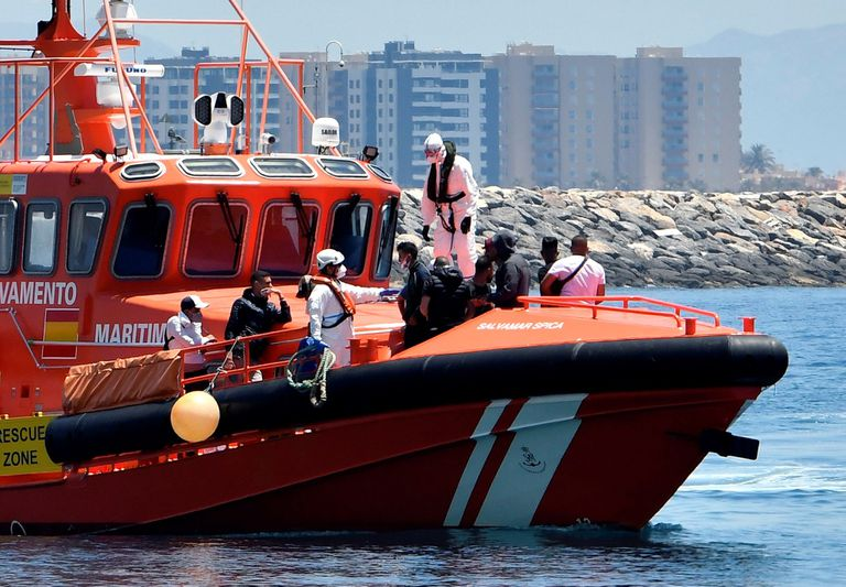 Fourteen migrants rescued by Spanish maritime services arriving in Almería on Sunday.