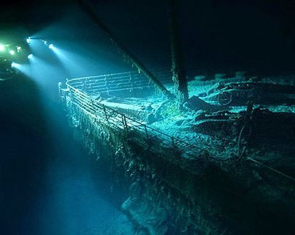 The famous bow of the Titanic, caught in the lights of one of the submersibles that has visited the wreck.