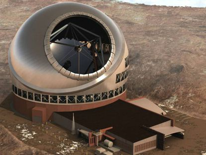 An artist's rendition of the Thirty Meter Telescope as it would look atop the Mauna Kea.