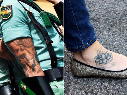 A Spanish legionnaire's tattoos, and Estela Martín's.