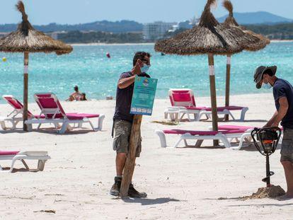 Alcudia beach in Mallorca in Spain's Balearic Islands in May.