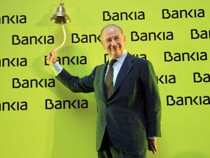 Rodrigo Rato, former head of Bankia, on the day of the stock market launch.