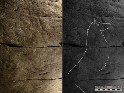 Paintings found in one of the Aitzbitarte caves near San Sebastián in the Basque Country.