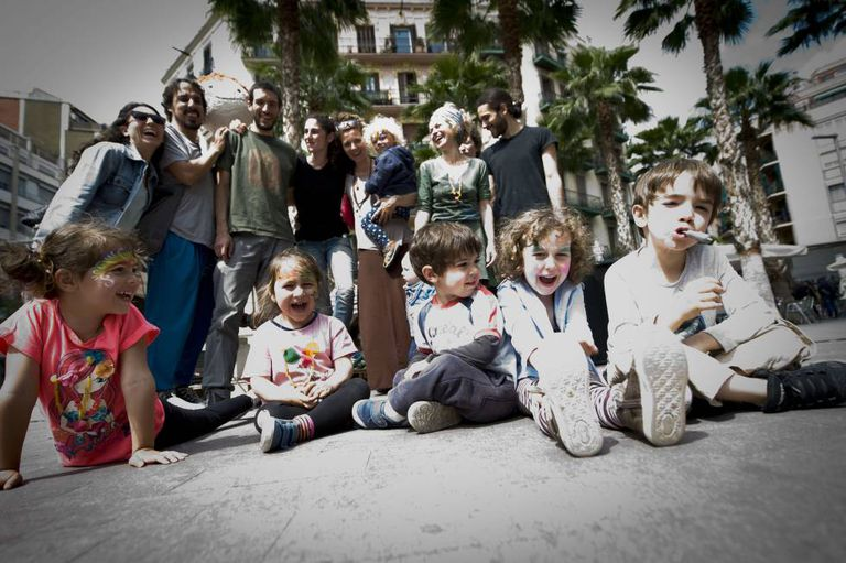 The families of the homegrown nursery group, christened Babalia, in the Poble Sec neighborhood of Barcelona.