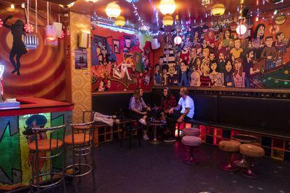 Madrid's popular night spot Taperware, nearly deserted on Thursday night.