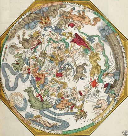 An idealized representation of 'The sphere of the fixed stars' by Petrus Apianus (1540).