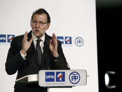 Spanish Prime Minister Mariano Rajoy at a campaign event in Pamplona.