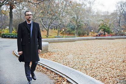 Whenever Costos is in New York, he tries to walk through Central Park, wherever he is headed. DOLCE & GABBANA jacket, DIOR HOMME shirt, BROOKS BROTHERS sweater, LEVI'S jeans, TOUS scarf and CHURCH'S shoes.