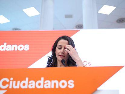 Ciudadanos deputy Ines Arrimadas at a press conference.