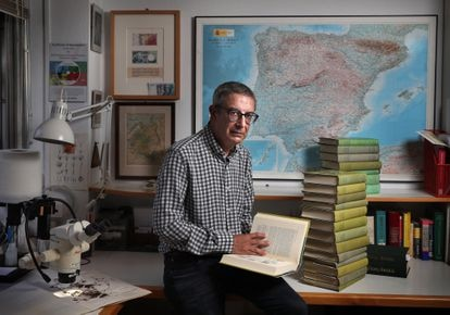 The researcher Carlos Aedo inside his office at Madrid's Royal Botanical Garden.