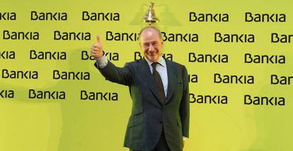 Rodrigo Rato celebrating Bankia's IPO in July 2011.