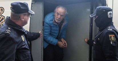 Tolo Cursach is escorted from a police van on March 3.