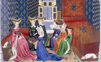 Women in a medieval illustrated image.