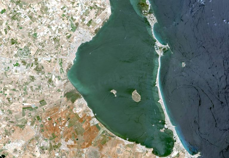 A satellite view of the Mar Menor, in the region of Murcia.