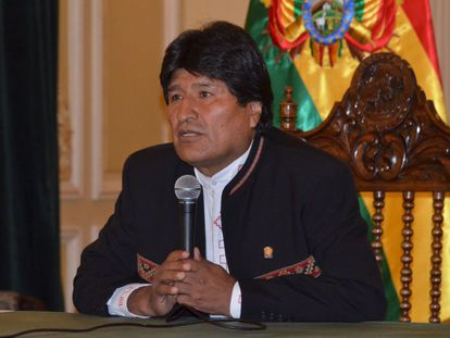 Evo Morales at a press conference on Monday.