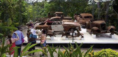Some of Pablo Escobar's vehicles on display at Hacienda Nápoles.