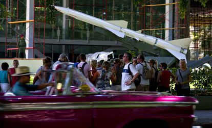 Tourists outside the Revolution Museum in Havana.