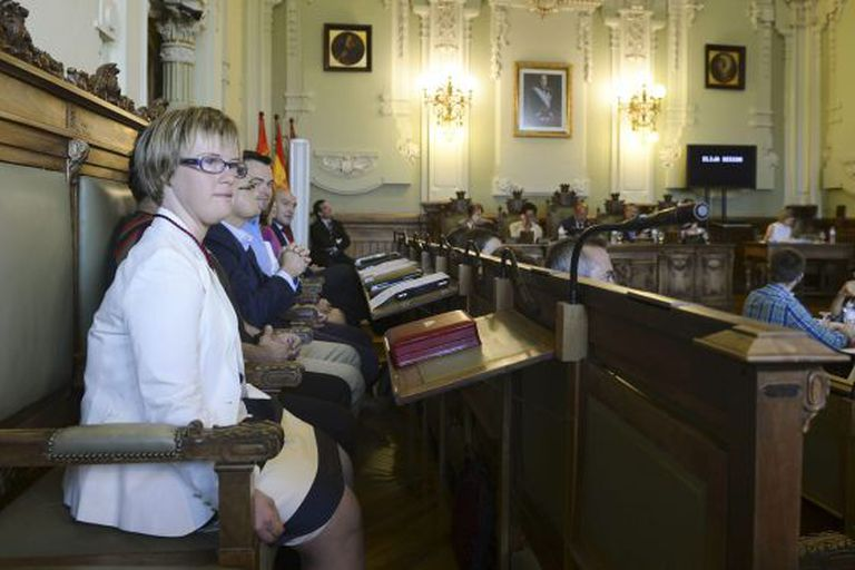 Ángela Bachiller in the Valladolid City Council chamber on her first day as a local councillor.