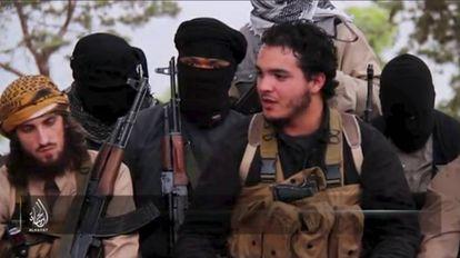 Still shot of an ISIS video showing European jihadists.