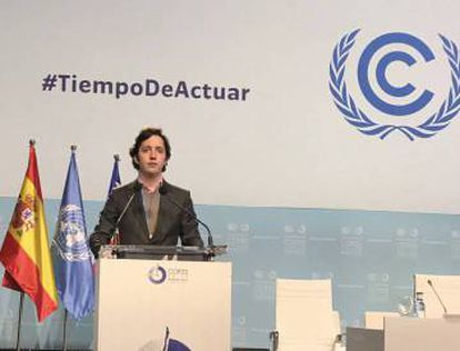 Photo shared on Twitter of Little Nicolás at the UN climate change summit in Madrid.