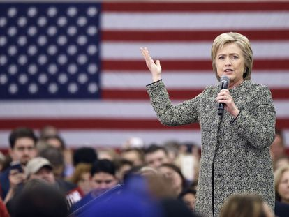 Hillary Clinton during a campaign rally on Sunday.
