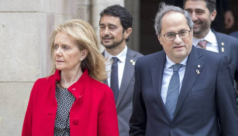 Catalan cultural department chief Mariàngela Vilallonga and Catalan premier Quim Torra.