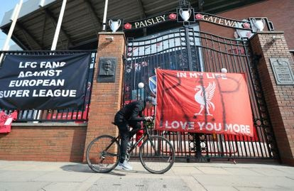 Banners protesting against the European Super League outside Liverpool's Anfield stadium.