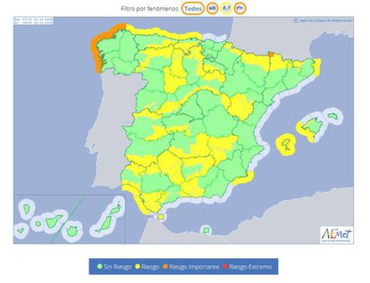 Orange areas are high risk, while areas in yellow have a 'mid-level' risk.