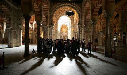 Visitors to the Mosque-Cathedral of Córdoba.