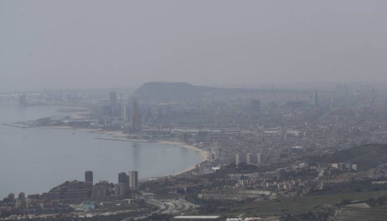 Pollution hanging over Barcelona and Badalona last week.
