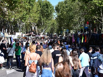 The outdoor Rastro market in Madrid.