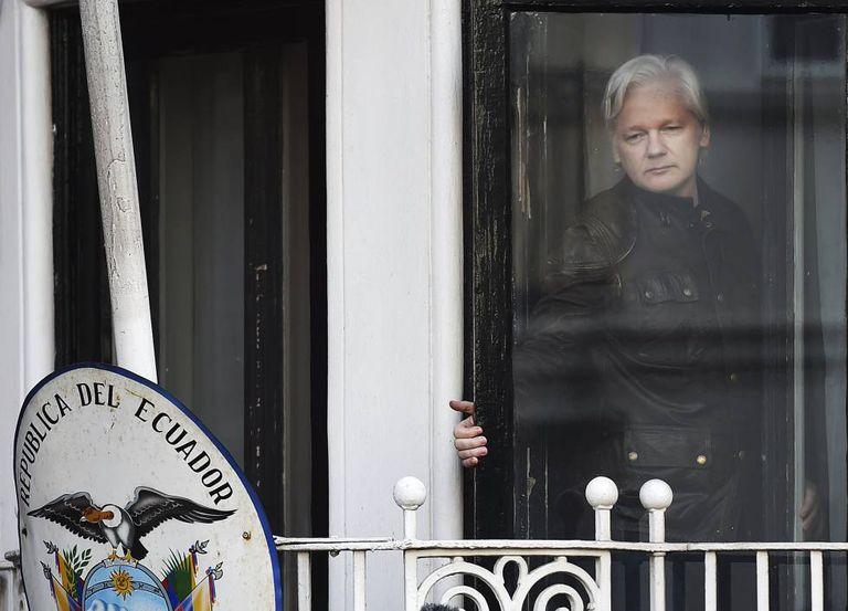 Julian Assange, at the Ecuador embassy in London.