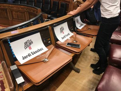 Seats reserved for Together for Catalonia's deputies-elect.