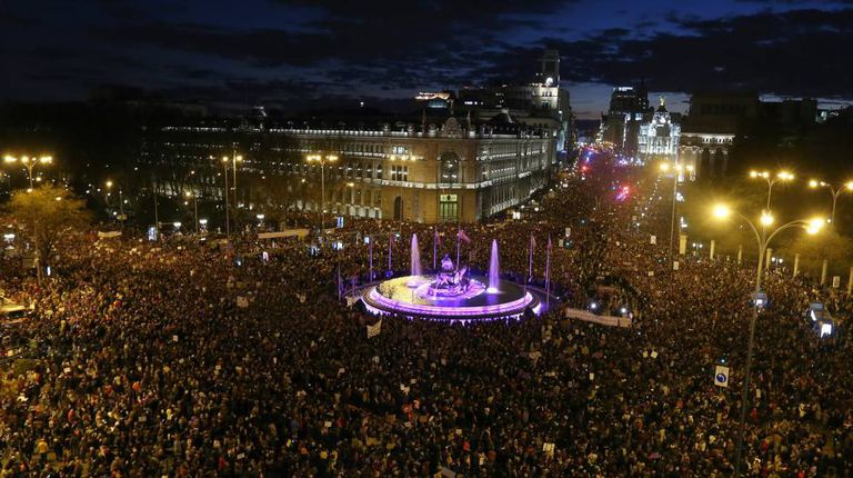 An aerial view of the march through Madrid on Friday night.