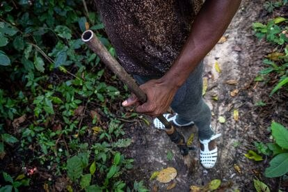 Ahmed Fofana hunts for bushmeat. His gun belonged to his grandfather and is reinforced with masking tape.