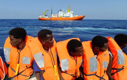 A group of migrants rescued at sea by 'Aquarius.'