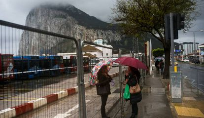 Two women at the border of Gibraltar.