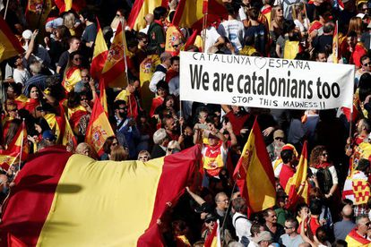 Protesters at the march against the Catalan independence drive on Sunday.