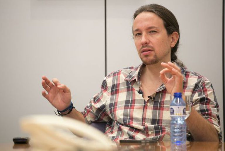 Pablo Iglesias, secretary general of Podemos, during the interview.
