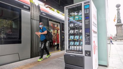 A face mask vending machine at a tramway station in the city of Zaragoza.