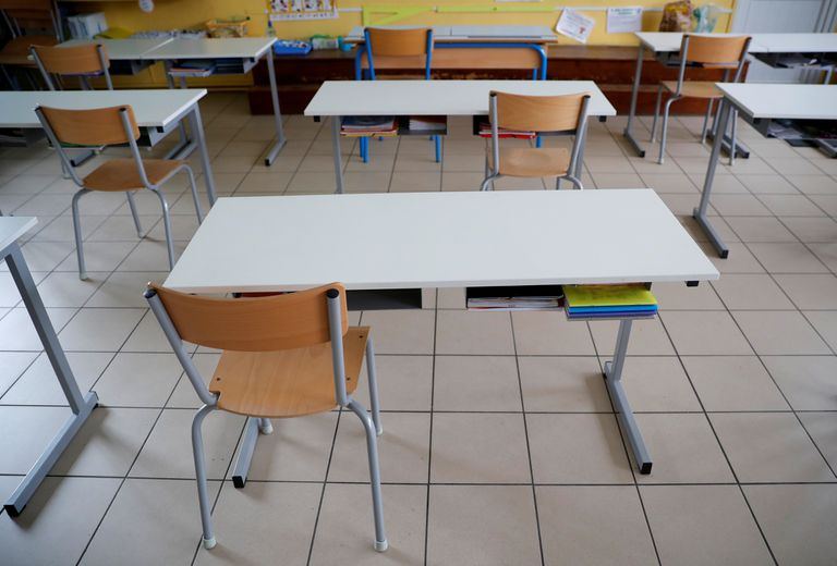 A classroom in Saint-Sebastien-sur-Loire, France, that has been prepared for social distancing of students.