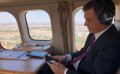 Pedro Sánchez on an official trip to the Mediterranean Games.