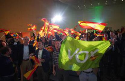 Vox supporters celebrating the results of the Andalusian election.