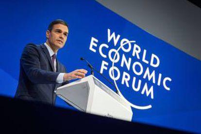 Pedro Sánchez speaking at Davos in January.