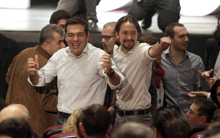 Podemos leader Pablo Iglesias (right), with Greek PM Alexis Tsipras.
