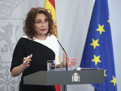Finance Minister María Jesús Montero at a news conference on Tuesday.