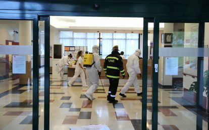 Military personnel disinfecting the Amavir senior home in Usera district in Madrid.