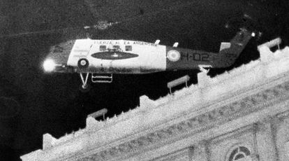 The helicopter that took away Isabelita Perón on March 24, 1976 following a military coup.