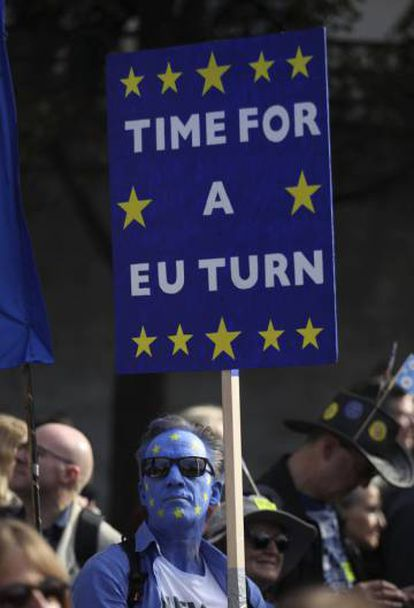 Protester at London march against Brexit.