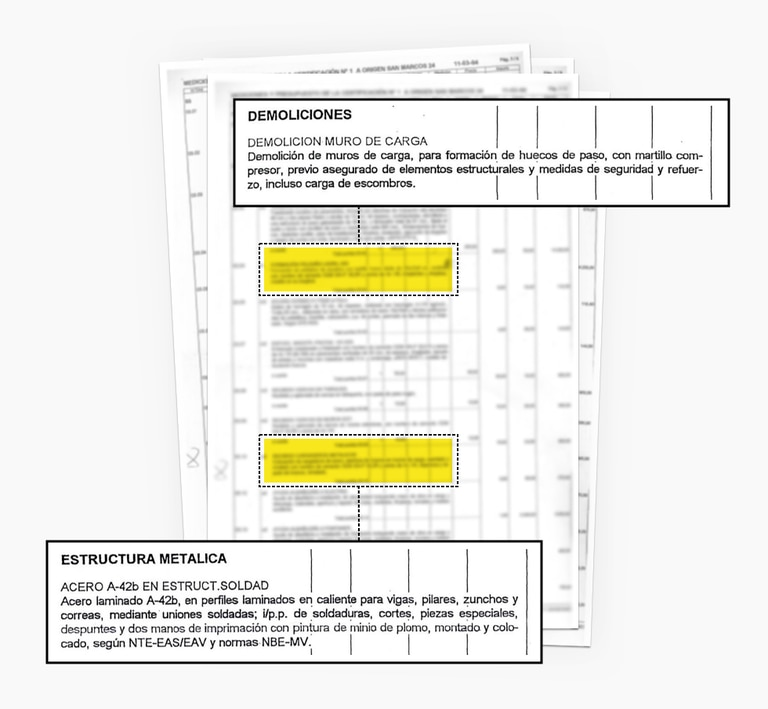 Sections of the certificate of work to be carried out on a residence in Madrid which includes major operations that can only be authorized by an architect.
